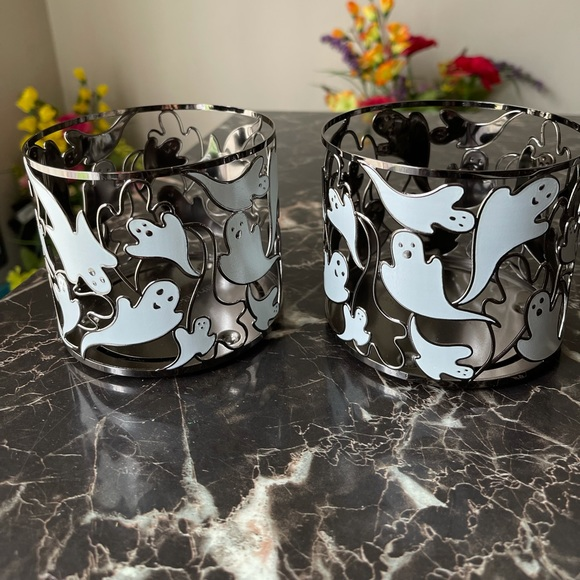 2 BBW Flying Ghost Halloween Candle Holder